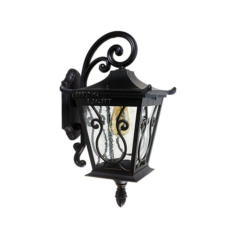 Mpotow Lampada da parete per esterni in alluminio metallo retrò americano Lampada da parete per esterni in vetro impermeabile creativo Lampada da parete per esterni Patio da giardino Balcone Porta da