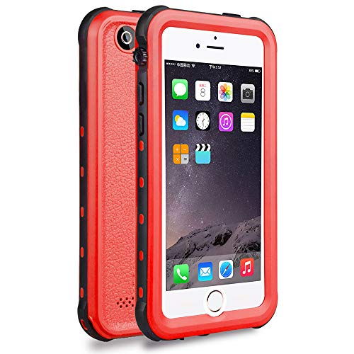 iPhone 5S / SE Waterproof Case, Waterproof Dust Proof Snow Proof Shock Proof Case with Touched Transparent Screen Protector, Heavy Duty Protective Carrying Cover Case for iPhone 5 5s SE (T-Red)