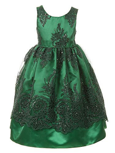 - Cinderella Couture Little Girls Green Sparkle Sequin Adorned Lace Satin Christmas Dress 6