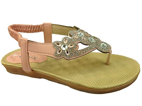 Ladies Chix Diamante Slingback Peep Toe Post Fashion Strappy Gladiator Flip Flop Summer Sandal Shoe Size 3-8 7404: Blush PU 35BkpR7v