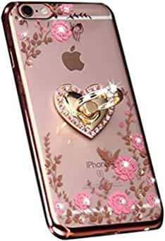 iPhone 7 Plus Floral Crystal TPU Case-Lozeguyc Soft Slim Bling Plating Rubber Cover for