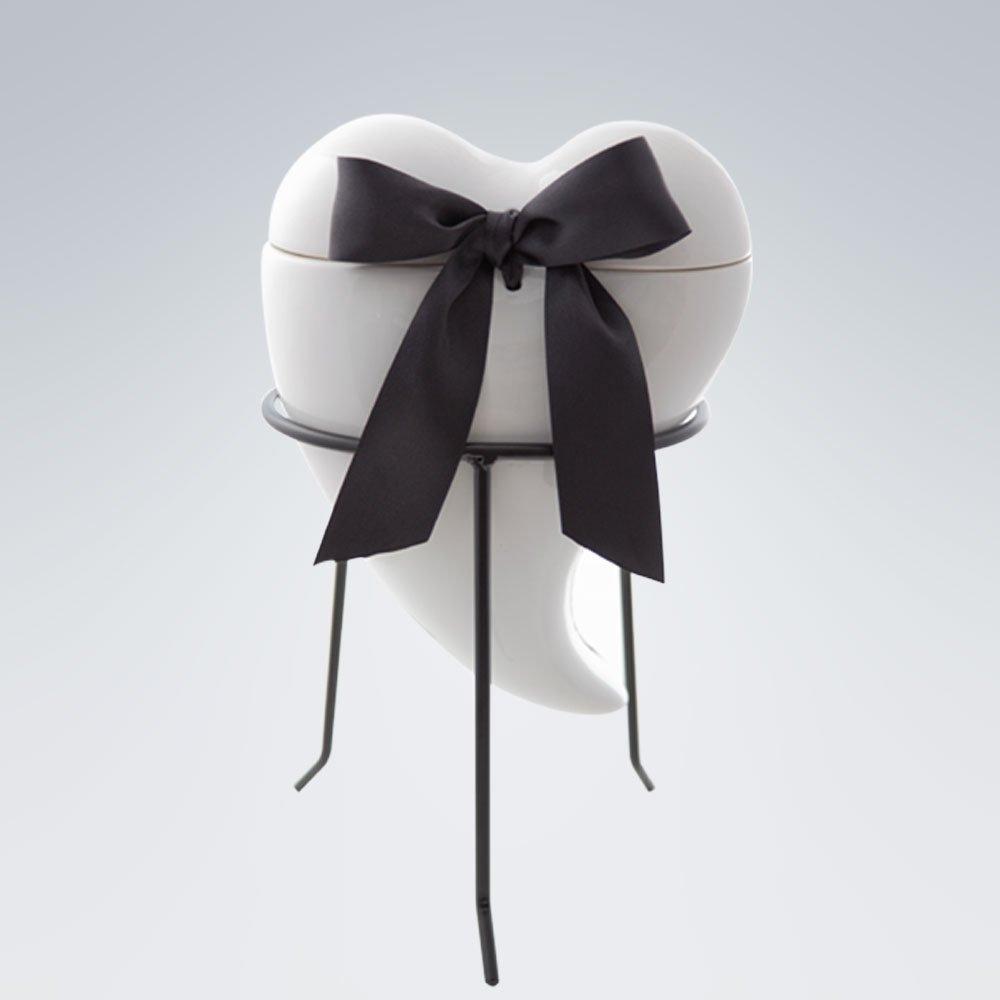Tierurne Herz Larina weiß-schwarz