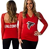 All Sport Couture Atlanta Falcons Ladies Fashion Long Sleeve V-Neck Halter Top - NFL Apparel