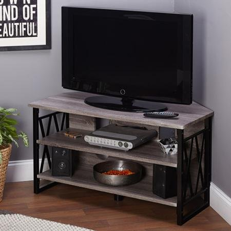 "Jaxx Black/Grey Corner TV Stand for TVs up to 40"""
