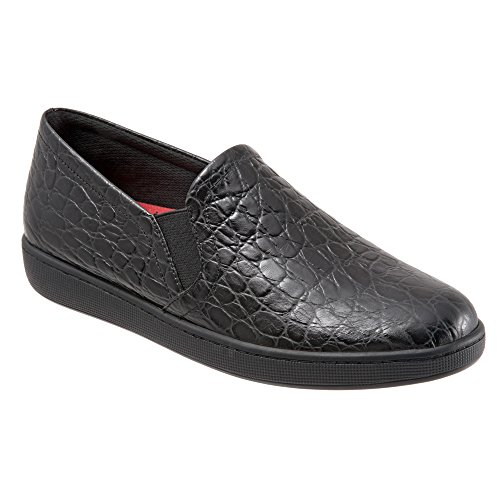 Trotters Flat Women's Us 7 Leather Sole Perforated grey Americana Croco Black M 7ww1qx