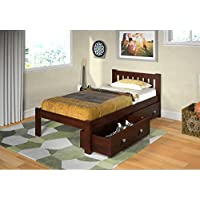 Twin Mission Bed with Dual Underbed Drawers in Dark Cappuccino