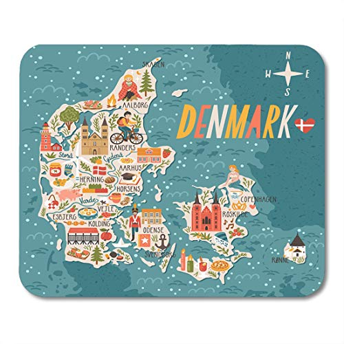Nakamela Mouse Pads Architecture City Map of Denmark Travel with Danish Landmarks People Food and Animals Copenhagen Candle Mouse mats 9.5