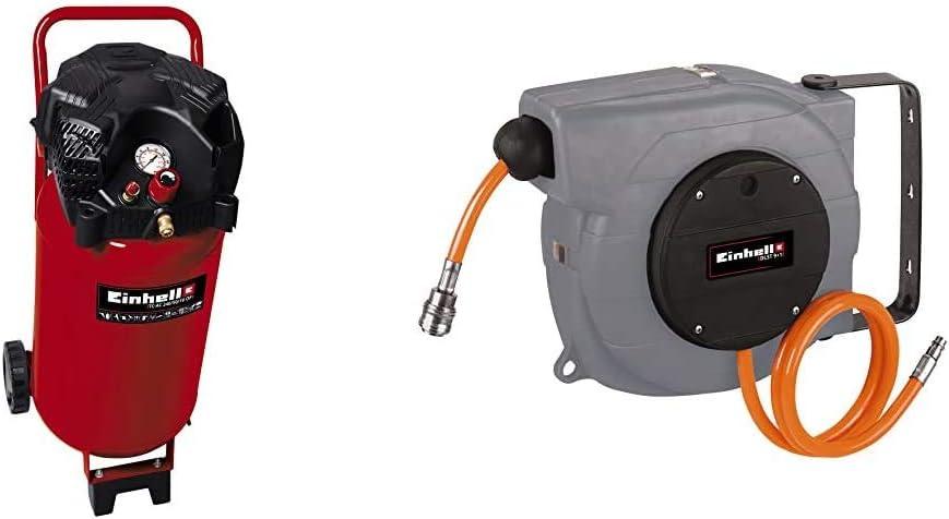 Einhell TH-AC 240/50/10 OF Compresor vertical, 1500 W, 230 V + DLST 9+1 - Rodillo recogemangueras para compresor