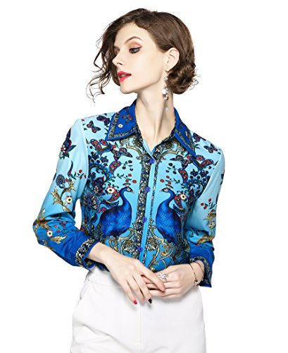 Women's Shirts Paisley Print Long/34 Sleeve Button up Casual Blouse Top(Blue,US 12) ()