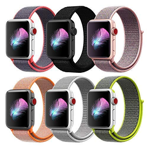 HILIMNY Compatible for Apple Watch Band 38mm, New Nylon Sport Loop, with Hook and Loop Fastener, Adjustable Closure Wrist Strap, Replacement Band Compatible for iwatch, 38mm, 6 Pack