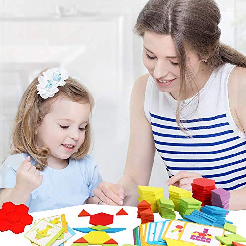 LOVESTOWN 230 Pcs Wooden Pattern Blocks, Geometric Shapes Blocks Pattern Blocks with Cards Tangram Puzzles for Kids Educational Montessori Tangram Toys