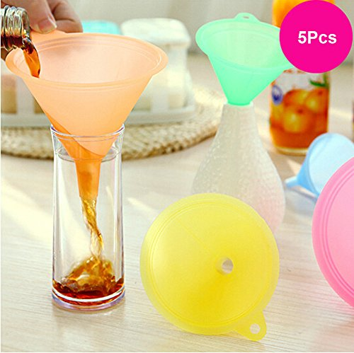 Maikouhai 5 Pcs Colorful Plastic Funnel Small Medium Large Variety Kitchen Home Mini Food-Grade Folding Oil Water Vinegar Funnel for Household Liquid Dispensing Tool - Kitchen & Home Dispenser