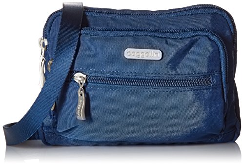 Baggallini Triple Zip Bag –Removable, Adjustable Strap can Switch from Crossbody Bag to Wallet Purse orWaist Pack