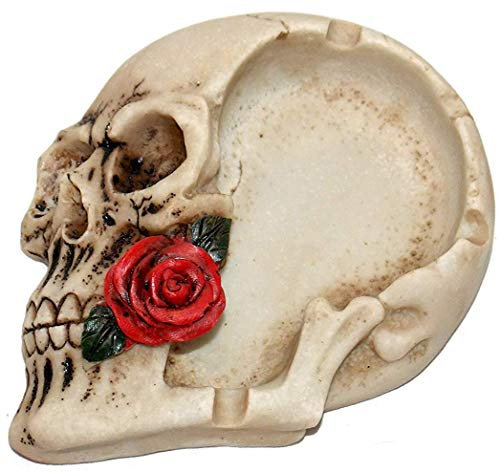 (New Grinning Skull Head Holding Red Rose in Teeth Rose Ashtray Jewelry)