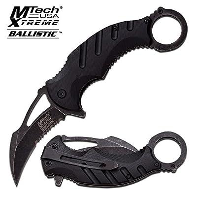 "M-Tech USA 4.75"" Stone Wash Karambit Combat Blade, Black G10 Handle, Pocket Clip"