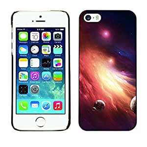Qstar Arte & diseño plástico duro Fundas Cover Cubre Hard Case Cover para Apple iPhone 5 / iPhone 5S ( Galaxy Fire Planets Art Red Dwarf Star Dust)