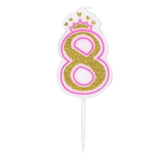 AUNMAS Vela de cumpleaños para niños Edad 0-8 Números sin ...