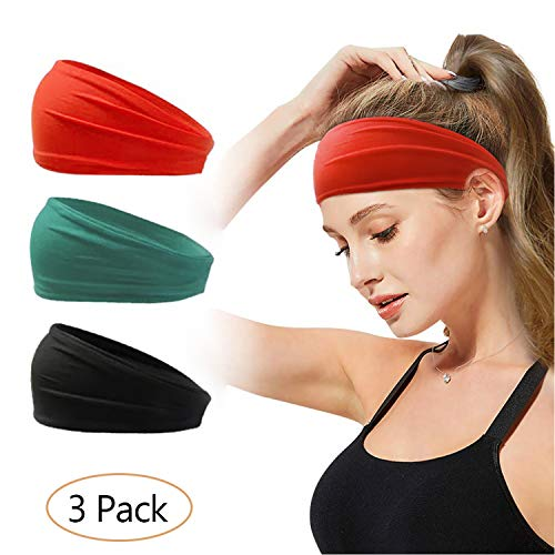 Coinfucover Sweatbands Headbands for Women Men│3Pcs Moisture Wicking Stretchy Soft Athletic Hair Head Bands for Workout Sports Fitness Exercise Tennis Basketball Running Gym Yoga Dance