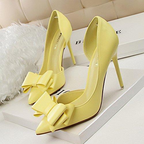 de Amarillo tacón fine punta Boca luz con talón alto expuestos de solo la dulce la boquilla de alto lateral zapatos Pajarita zapatos superficial de XwUPqxgwa