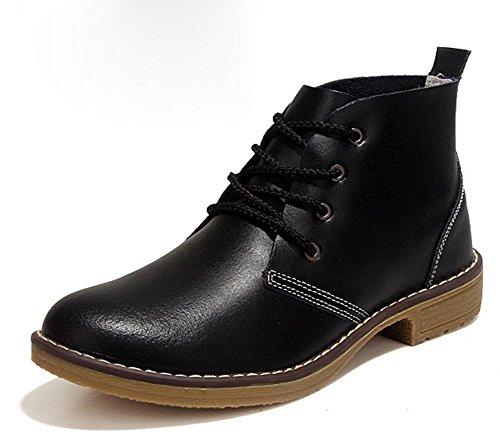 KUKI Damen Stiefel, Leder, Damenschuhe, England, einzelne Schuhe, hoch zu helfen, retro, Martin Stiefel, Motorradstiefel, kurze Stiefel black