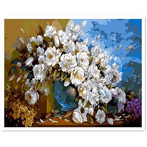 Decoraciones Modernas Cuadros de Pintura al oleo de orquideas por numeros crisantemo Rosa Digital 50x65 cm con Marco