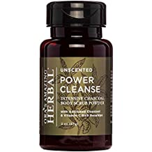 Power Cleanse Intensive Natural Organic Face Mask & Exfoliating Cleansing Powder Charcoal Scrub Unscented, Fragrance Free, With Rosehips, Frankincense, Honey, Kaolin Clay, Paraben Free Skincare
