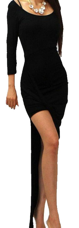 Generic Women's Long-sleeved Dress Sexy Irregular