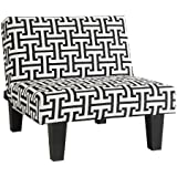 Kebo Chair, Black and White Geometric Pattern with Dark Legs Multi Position Chair, Sitter, Sleeper by DHP