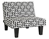 Kebo Ottoman, Black and White Geometric Pattern with Dark Legs, Minimalist Design, Sturdy Dark Legs, Premium Microfiber Upholstery (Chair) For Sale