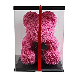 """Immortal The Rose Bear Teddy Bear Cub Pink Forever Artificial Rose Anniversary Christmas Valentines Gift 14"""" 50"""