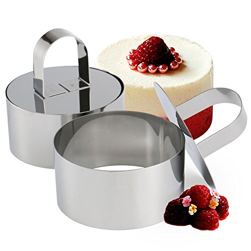 Set of 2 - Round Stainless Steel Small Cake Rings, Mousse and Pastry Mini Baking Ring Mold with Pusher by Chefa USA