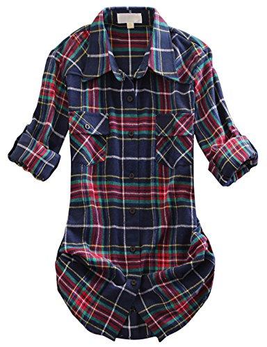 chouyatou Women's Winter Fleece Lined Plaid Flannel Buttoned Shirt (Medium, ()