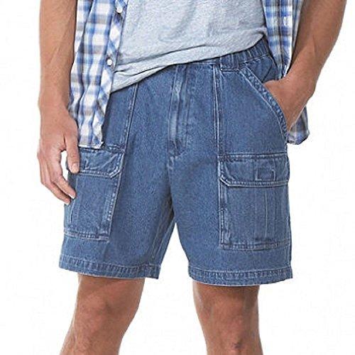 Savane Men's Comfort Hiking Cargo Shorts (36, Denim) by Savane