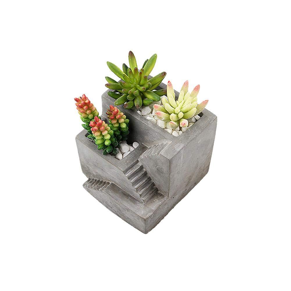 Lembeauty - Molde de Silicona con Forma de Escalera para Plantas, jarrón de Flores, hormigón, Musgo y Cemento, Ideal para decoración de Escritorio: ...