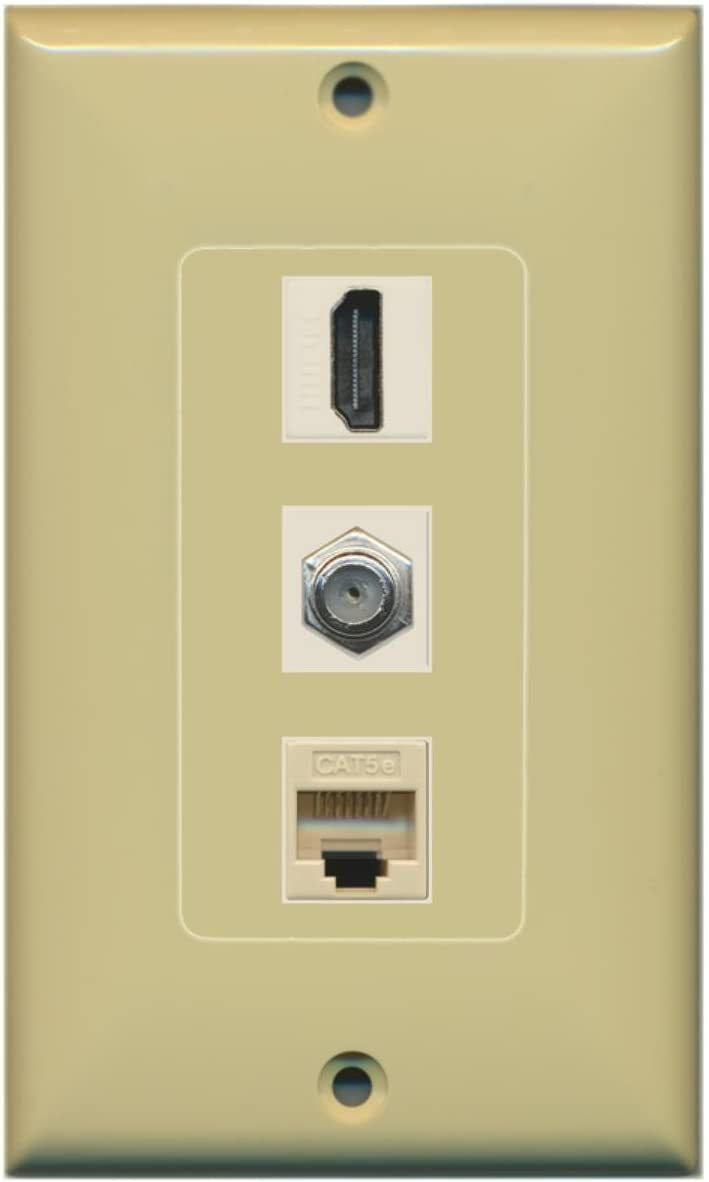F-Type Cat5e Ethernet Decorative Wall Plate Black RiteAV 1 Port HDMI and 1 Port Coax Cable TV