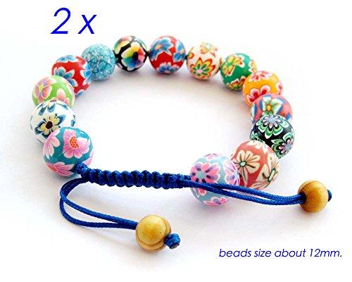 2pcs X Colorful Fimo Flower Bead Adjustable Bracelet