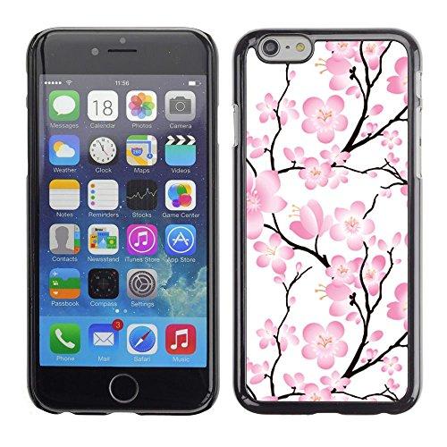 TopCaseStore / caoutchouc Hard Case Housse de protection la Peau - Wallpaper Pink Flowers Floral Tree Branch - Apple iPhone 6 Plus 5.5