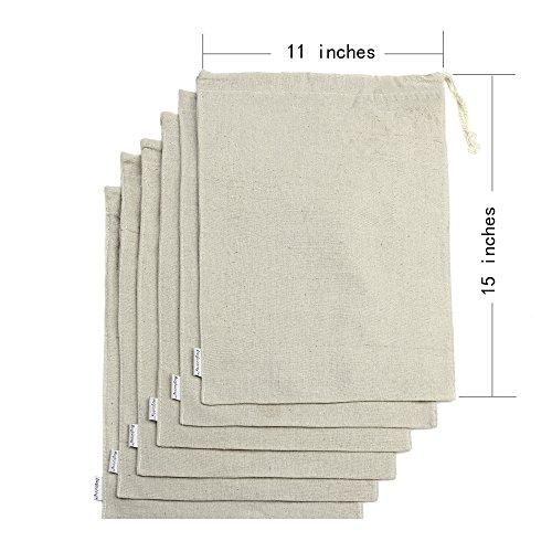 Augbunny Cotton/Linen Blend 11- by 15-inch Muslin Produce Ba