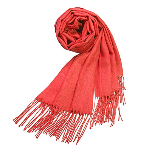- Large Soft Silky Pashmina Shawl Wrap Scarf in Solid Colors Burnt Orange