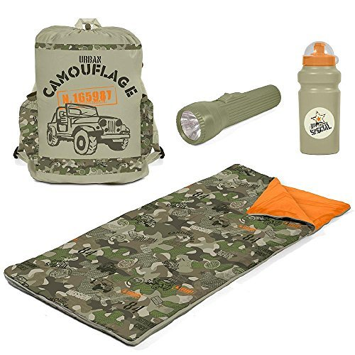 Cheapest Price! CCs Camouflage Sleeping Bag Set with Flashlight, Water Bottle, Backpack for Kids. Ca...