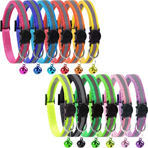 KZHAREEN Reflective Nylon Breakaway Cat Collars Bell Adjustable Small Pet Dog Puppies(12pcs/Set)