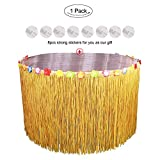 AerWo Hawaiian Luau Grass Table Skirt, Hibiscus Tropical Flowers Table Hula Skirts 9ft Table Decorations for Hawaiian Luau Party Supplies, Events, Birthdays, Celebration (Grass Yellow)