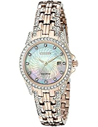Womens Eco-Drive Watch with Crystal Accents, EW1228-53D