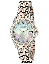 Citizen Women's Silhouette Crystal EW1228-53D Wrist Watches, Mother of Pearl Dial
