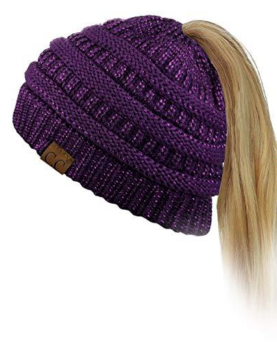 C.C BeanieTail Soft Stretch Cable Knit Messy High Bun Ponytail Beanie Hat, Purple Metallic - Long Purple Beanie