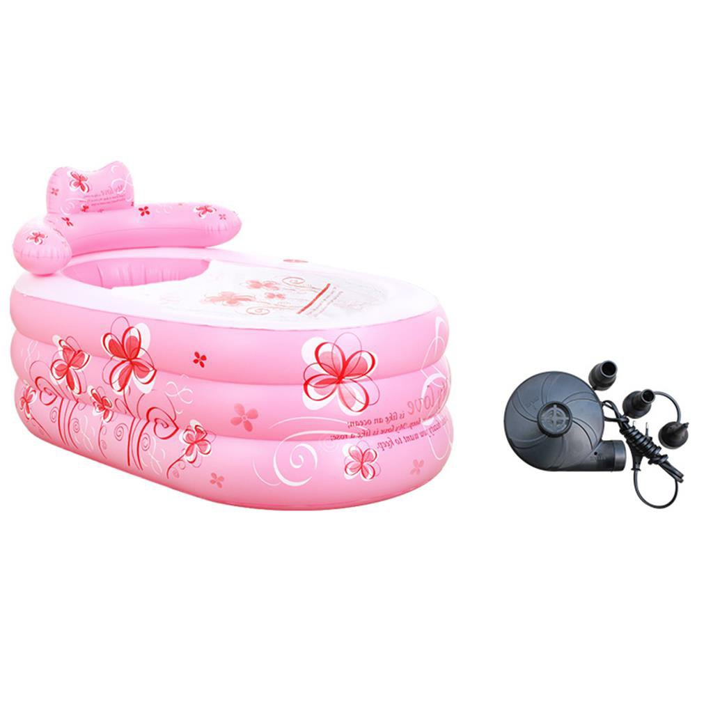 Sunhai& Small Inflatable Bathtub Thickening Adult Bathtubs Folding Children's Bath Tubs Plastic Bath Barrels ( Color : Pink )
