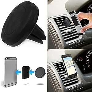 Theoutlettablet® Soporte Rejilla Universal para rejillas de ventilación aire del coche , soporte magnético montaje sostenedor (Negro) para Smartphone Huawei Ascend P7