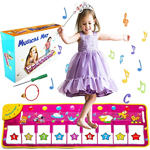 """V Convey 39""""X14 Piano Keyboard Kids Music Mat Toddler Floor Animal Interactive Mat Toys Baby Early Education Music Carpet Animal Blanket Touch Play Safety Learn Kids Electronic Singing Dancing Toy ()"""