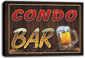 scw3-021580 CONDO Name Home Bar Pub Beer Mugs Stretched Canvas Print Sign