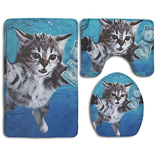 MERCURY Microfiber Bathroom Contour Rugs Combo 3D Pattern Cat Caught The Money 3-Piece Sets Toilet Mat Non-Slip Shower Floor Rugs Pedestal Rug + Lid Toilet Cover + Bath Mat Mercury Hand Woven Rug
